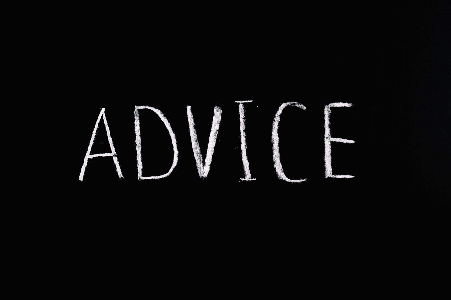 advice lettering text on black background
